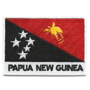 Embroidered iron on national flag of Papua New Guinea with name text.
