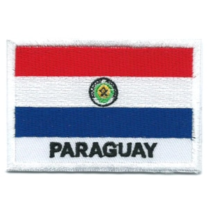 Embroidered iron on national flag of Paraguay with name text