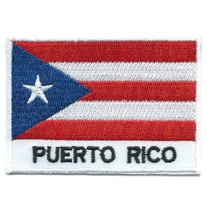 Embroidered iron on national flag of Puerto Rico with name text.