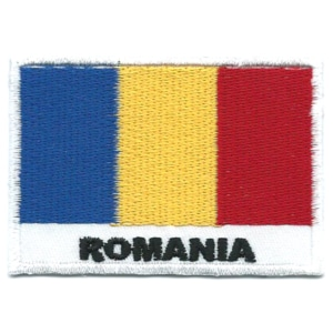 Embroidered iron on national flag of Romania with name text.