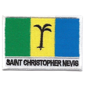 Embroidered iron on national flag of Saint Christopher Nevis with name text