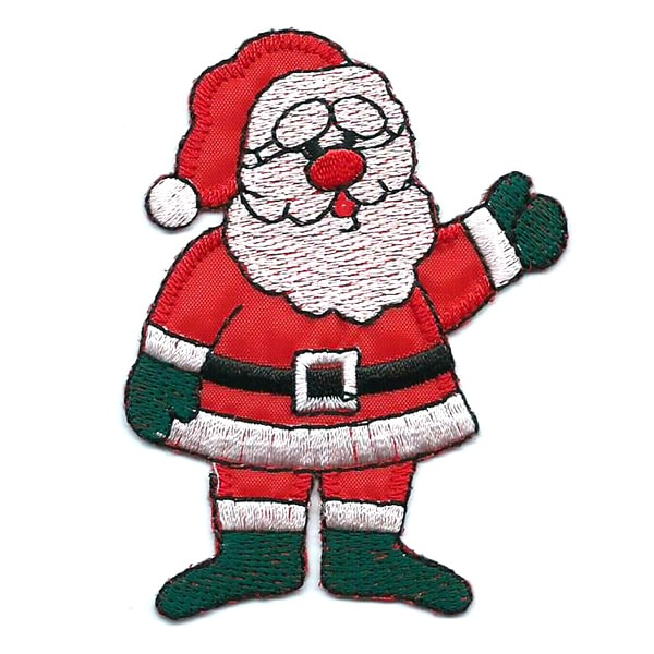 Embroidered patch of Santa Claus waving.
