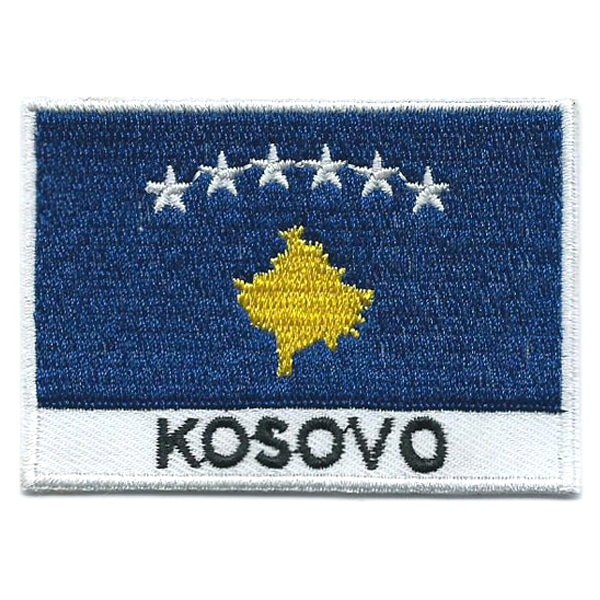 Embroidered iron on national flag of Kosovo with name text