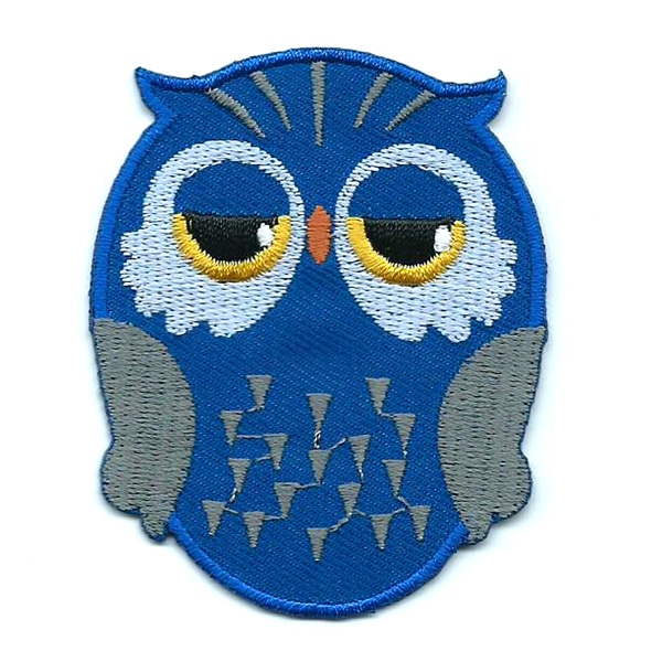 Blue iron on embroidered owl patch with black and yellow eyes.