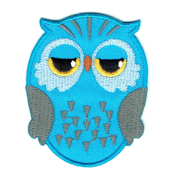 Aqua blue iron on embroidered owl patch with black and yellow eyes.