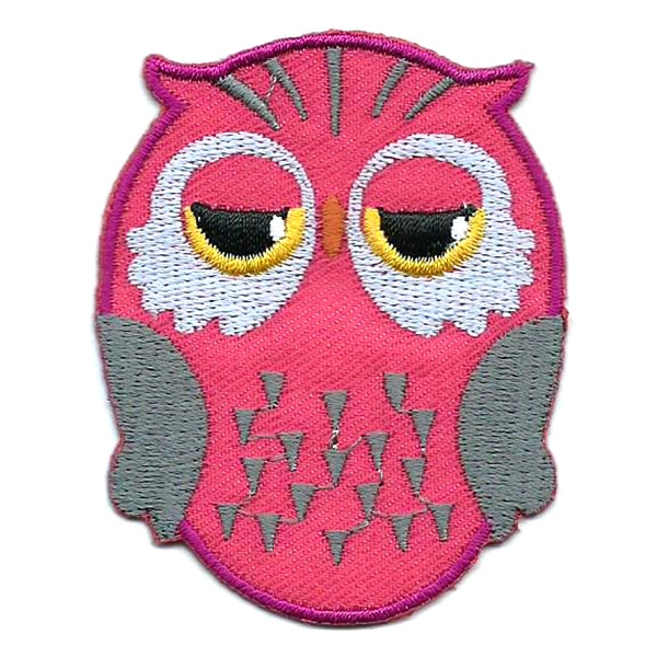 Pink iron on embroidered owl patch with black and yellow eyes.