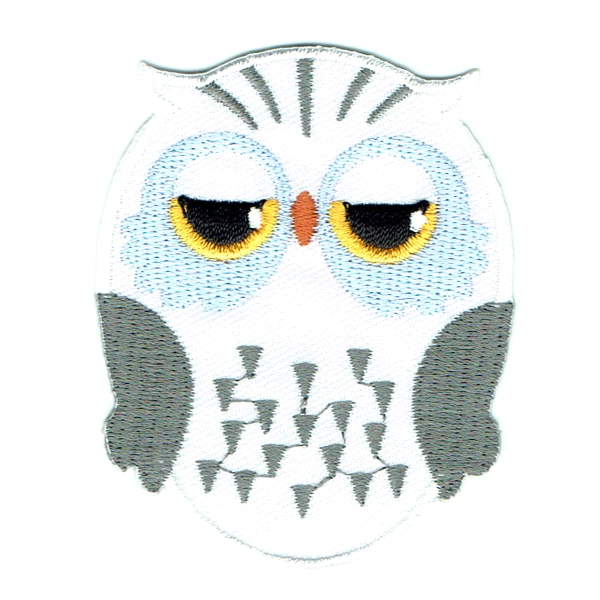Iron embroidered white owl patch