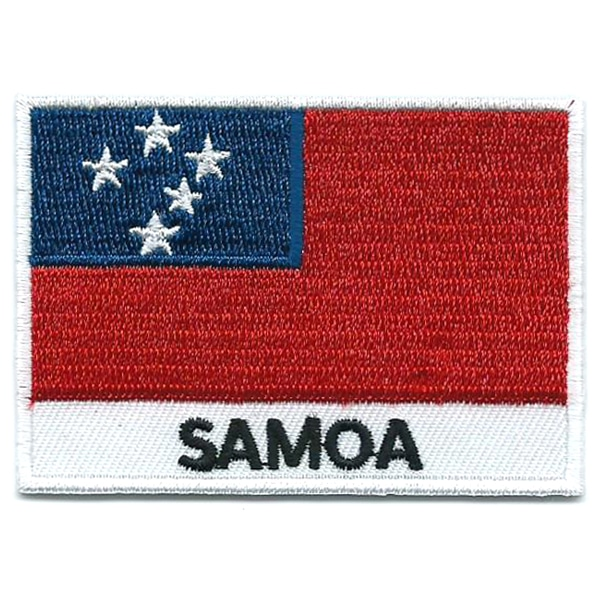 Embroidered iron on national flag of Samoa with name text.
