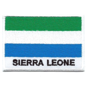 Embroidered iron on national flag of Sierra Leone with name text.