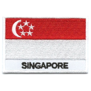 Embroidered iron on national flag of Singapore with name text.