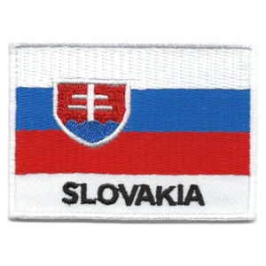 Embroidered iron on national flag of Slovakia with name text.