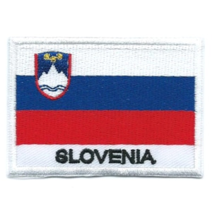 Embroidered iron on national flag of Slovenia with name text.