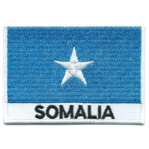 Embroidered iron on national flag of Somalia with name text.