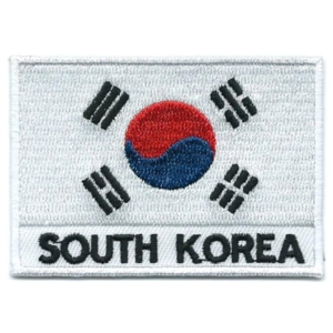 Embroidered iron on national flag of South Korea with name text.