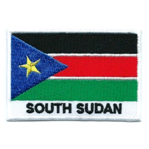 Embroidered iron on national flag of South Sudan with name text.