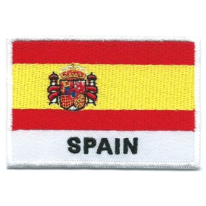 Embroidered iron on national flag of Spain with name text.