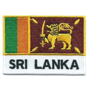 Embroidered iron on national flag of Sri Lanka with name text.