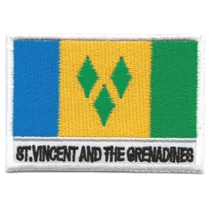 Embroidered iron on national flag of Saint Vincent and the Grenadines with name text
