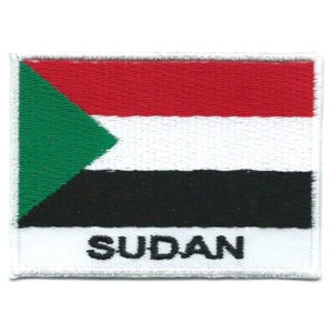 Embroidered iron on national flag of Sudan with name text.