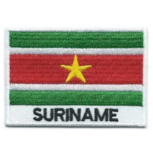 Embroidered iron on national flag of Suriname with name text.