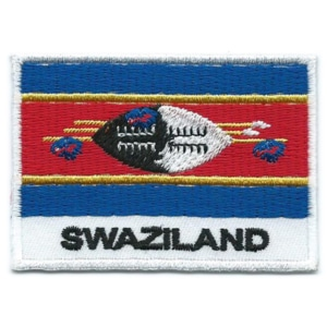 Embroidered iron on national flag of Swaziland with name text.