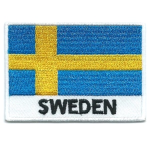 Embroidered iron on national flag of Sweden with name text.