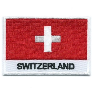 Embroidered iron on national flag of Switzerland with name text.