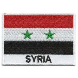 Embroidered iron on national flag of Syria with name text.