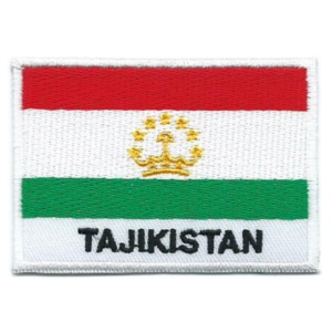 Embroidered iron on national flag of Tajikistan with name text.