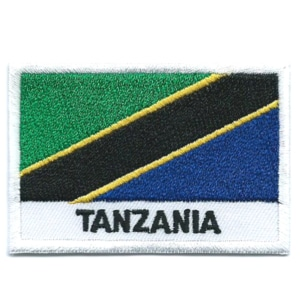 Embroidered iron on national flag of Tanzania with name text.