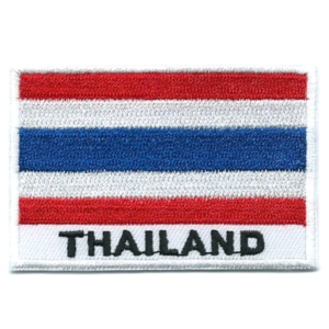 Embroidered iron on national flag of Thailand with name text.