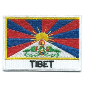 Embroidered iron on national flag of Tibet with name text.