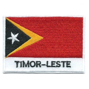 Embroidered iron on national flag of Timor-Leste with name text.