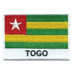Embroidered iron on national flag of Togo with name text.