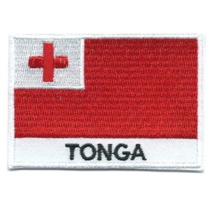 Embroidered iron on national flag of Tonga with name text.