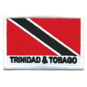 Embroidered iron on national flag of Trinidad and Tobago with name text.