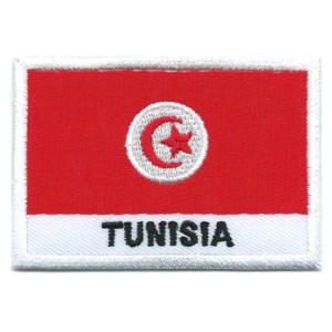 Embroidered iron on national flag of Tunisia with name text.
