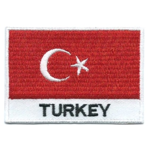 Embroidered iron on national flag of Turkey with name text.
