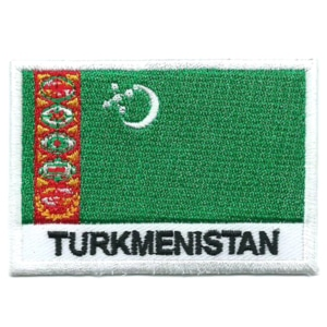 Embroidered iron on national flag of Turkmenistan with name text.