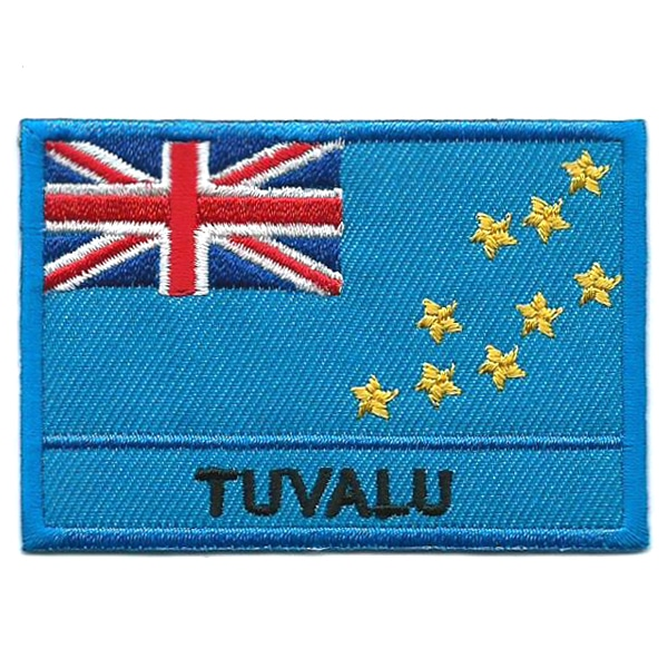 Embroidered iron on national flag of Tuvalu with name text.