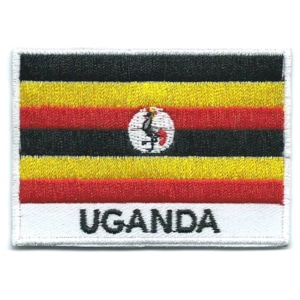 Embroidered iron on national flag of Uganda with name text.