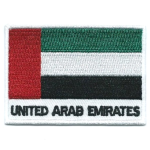 Embroidered iron on national flag of United Arab Emirates with name text.
