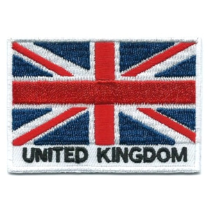 Embroidered iron on national flag of United Kingdom with name text.