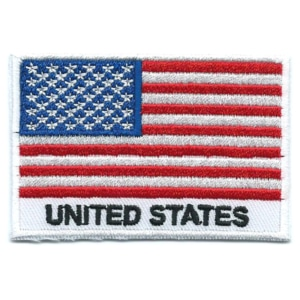 Embroidered iron on national flag of United States with name text.