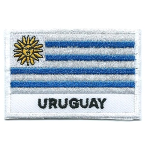 Embroidered iron on national flag of Uruguay with name text.