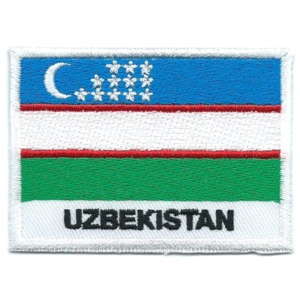 Embroidered iron on national flag of Uzbekistan with name text.