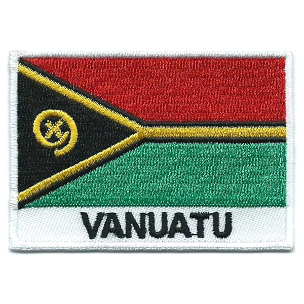 Embroidered iron on national flag of Vanuatu with name text.