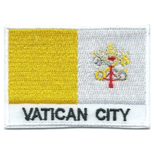 Embroidered iron on national flag of Vatican City with name text.