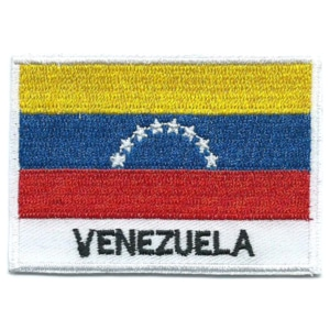 Embroidered iron on national flag of Venezuela with name text.