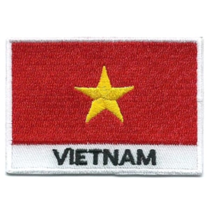 Embroidered iron on national flag of Vietnam with name text.